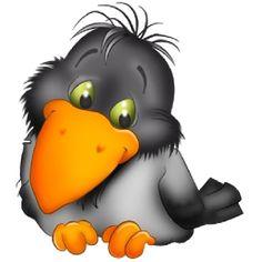 Crow Cuteness via cartoon-birds ♥ Cartoon Kunst, Cartoon Drawings, Cartoon Art, Animal Drawings, Vogel Clipart, Bird Clipart, Clipart Images, Chat Lion, Cartoon Birds
