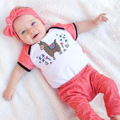 Baby outfit goals right here 👌 Llama onesie with matching coral leggings and headband Outfit Goals, Outfit Ideas, Coral Fabric, Baby Shower Gifts, Little Girls, Onesies, Cool Style, Leggings, Clothing