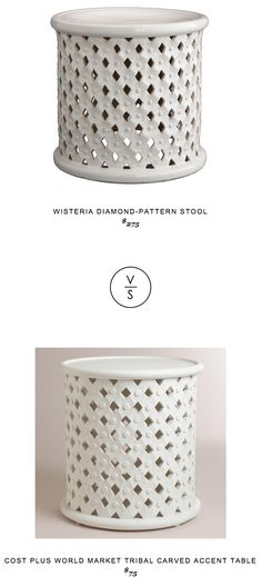 Wisteria Diamond-Pattern Stool $275 vs Cost Plus World Market Tribal Carved Accent Table $75
