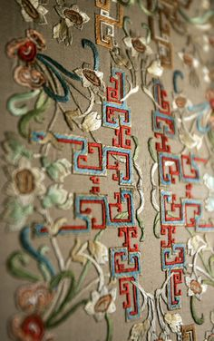 The embroidery decorations after the renovation of the Juanqin Studio, Forbidden City, China