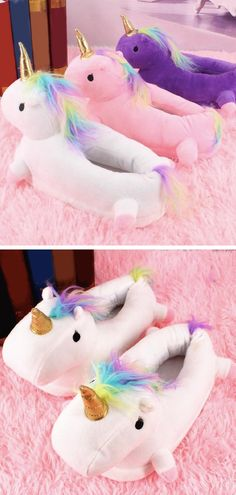 [Light Up Unicorn Slippers For Kids and Adults] Like little magical night lights for your feet. These adorable light up unicorn slippers were made with comfort and cuteness in mind. #unicorns #slippers #unicornslippers #tripboulevard