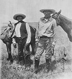 Chief Geronimo & Chief Naiche - Chiricahua Apache - POW - Fort Sill, Oklahoma (?) - No date (before 1909).