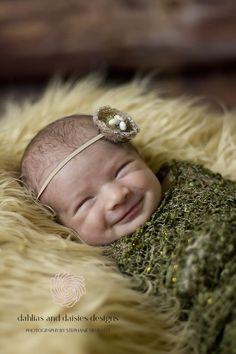 Dallas newborn girl smiling