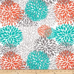 Premier Prints Indoor/Outdoor Bloom from @fabricdotcom  Premier Prints outdoor fabrics are screen printed on spun polyester and have a stain and water resistant finish. These fabrics withstand direct sunlight for up to 1000 hours making them both durable and versatile, perfect for outdoor settings and indoor living in sunny rooms, great family friendly fabr