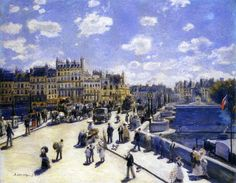 """""""Le Pont Neuf """" Pierre-Auguste Renoir (1872) Renoir nos presenta una escena cotidiana del París de su época vista desde una ventana. Destaca el bullicio de la vida en la ciudad enmarcado bajo un intenso cielo azul."""
