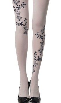 """Magnolia"" Floral Print White Tights are etherial and trans-seasonal. High quality, 120 denier opaque tights for a lighter winter look. Fresh, floral pattern. Shop HERE: http://www.trendylegs.com/new-arrivals/ #tights #winter #fashion"