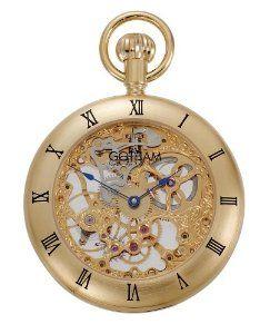 a3416d1317b2 Gotham Men s Gold-Tone 17 Jewel Mechanical Exhibition Roman Bezel Pocket  Watch