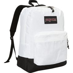 Jansport Superbreak Backpack ($29) ❤ liked on Polyvore featuring bags, backpacks, white, utility backpack, jansport rucksack, jansport, day pack backpack and white handle bags