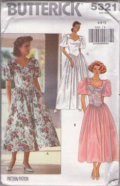 MOMSPatterns Vintage Sewing Patterns - Butterick 5321 Retro 90's Sewing Pattern CHARMING Sweetheart Neckline, Basque Waist, Bow Trim Bouffant Sleeves Garden Party Dress, Bridal Formal Gown Size 12-16
