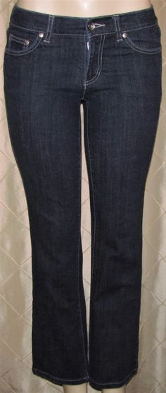 4ac6d2b6 DKNY TIMES SQUARE BLUE JEANS STRETCH DARK WASH DENIM BOOT CUT SIZE 24 SHORT  | eBay