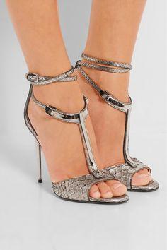 Tom Ford|Embellished metallic python T-bar sandals|NET-A-PORTER.COM