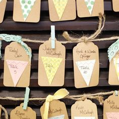 Kraft Paper Tag Escort Cards. THE ESCORT CARDS TELL GUESTS WHICH TABLE THEIR AT & THEN WHEN THEY ARRIVE TO THE TABLE YOU HAVE THEIR NAME ON A CARD AT THEIR PARTICULAR SEAT.