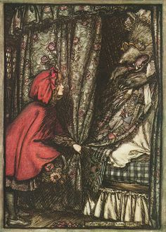 Red Riding Hood. Arthur Rackham, 1902.  (red riding hood cap, fairy tale, fantasy)