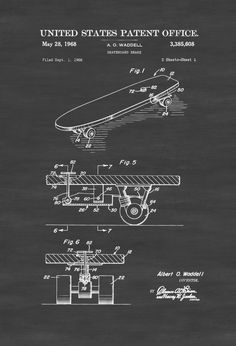 Vintage Skateboard Break Patent 1968 - Patent Print Wall Decor Skater Art Skateboard Decor Skater Gift by PatentsAsPrints #patentartposters  #PatentArtGifts