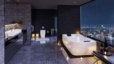 View in gallery sleek-bathroom-with-city-views-and-floor-candles-. sleek- bathroom-with-city-views-and-floor-candles-