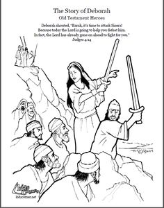 Story of Deborah. Coloring page, script and audio story. http://kidscorner.reframemedia.com/bible/stories/the-story-of-deborah/