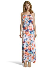 Wyatt mint and orange floral printed stretch jersey strapless maxi dress