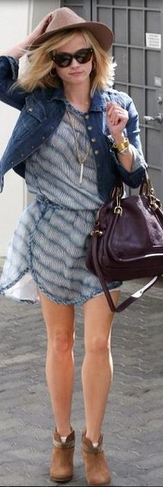 Reese Witherspoon: Dress – Isabel Marant  Purse – Chloe  Shoes – Rag & Bone  Bracelet – Celine