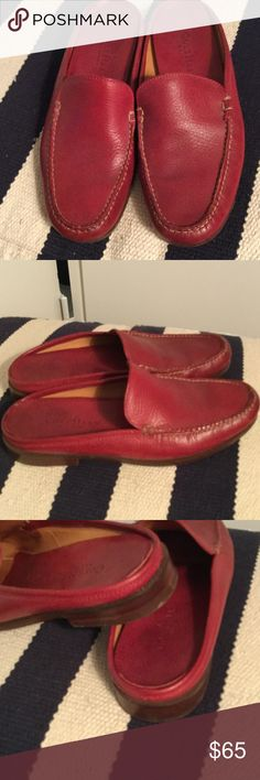 Red leather Cole Haan slipons, 7AA In excellent condition for a 2nd hand shoe. Beautiful leather inside and out. Bottoms show normal use, minimal if any wear on soles. Made in  Brazil Cole Haan Shoes