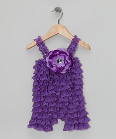 Take a look at this Purple Lace Ruffle Romper - Infant & Toddler by Brides and Babies on #zulily today!
