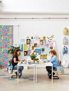 white + colorful prints Studio amazingness