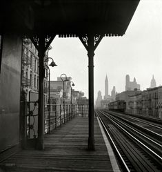 "September 1942. ""New York. Looking downtown from the Third Avenue elevated railway in the 'Fifties'."""