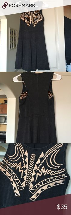 Cute summer dress! super soft material. Excellent used condition! Dress is a washed look with coral embroidery on bust. Perfect to throw on over a bathing suit or wear out at night with wedges. Dresses