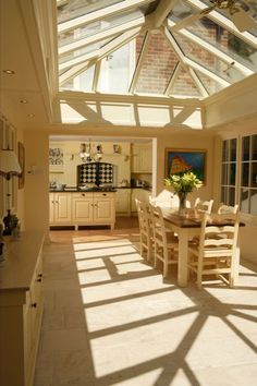 Love the patterns the lantern skylight plays with the evening light in this orangery kitchen extension. Browse Sterlingbuild lantern windows at http://www.sterlingbuild.co.uk/products/lanterns