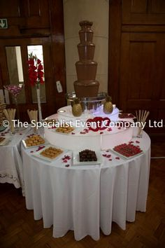 Our fantastic Sephra chocolate fountain, the largest one you can get at 44 inches high. This comes complete with an illuminated LED base. It is a brilliant focal point for weddings,corporate events, any special occassion.