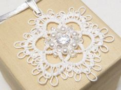 Tatted Lace Pendant with Cubic Zirconia -Brilliant Frilly Flourish in you color choice