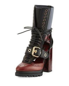 X3DVR Burberry Westmarsh Leather & Snakeskin Cutout Ankle Boot, Burgundy Red