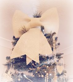 Christmas tree topper. Shimmery bow