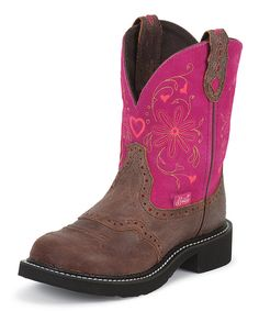 Look at this Justin Boots Spice Brown Cowhide Leather Boot on #zulily today!