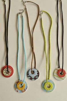 Craft idea: Washer necklace - supplies - 2 size washers, scrapbook paper, mod podge and diamond glaze by diane