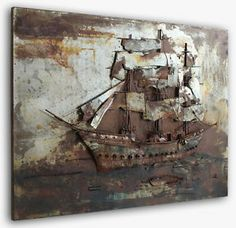 Sailing Vessel made from Metal. Handcrafted piece with a large 3D relief. The Vessel is standing out and made from a lot of single metal elements.