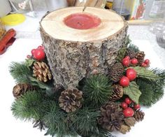 Holiday candle log, take a grinder, or drill bit and start drilling a circle but leave a bit of wood in the middle(for the wick) and widen the circle then when its the size you want fill with scented wax, let cool then light the wood wick :) Christmas Wood, Christmas Photos, All Things Christmas, Winter Christmas, Christmas Holidays, Christmas Wreaths, Advent Wreaths, Holiday Candles, Christmas Centerpieces