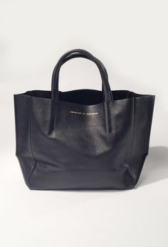 Ampersand as Apostrophe Half Tote with Leather Out in Black at ShopGoldyn.com