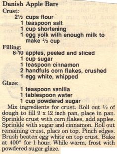 Recipe Clipping For Danish Apple Bars