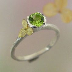 Hydrangea Stacking Ring Sterling Silver Peridot and 18k yellow gold flower Made to order