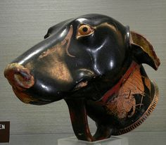 Greek rhyton in the shape of a dog's head, made by Brygos, early 5th century BC. Jérôme Carcopino Museum, Department of Archaeology, Aleri