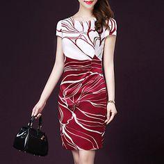 Women's+Simple+Print+Plus+Size+Dress,Round+Neck+Above+Knee+Silk+–+RUB+p.+859,99