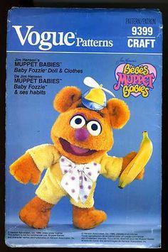 Muppet Babies Baby Fozzie Stuffed Animal Doll Clothes Vogue Pattern 9399 Uncut | eBay