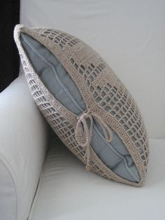 Linen Dragonfly Filet Crochet Pillow Cover --- Side by sara ~~ thesplitstitch, via Flickr