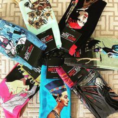 Well hello funky stocking stuffers... fresh batch of art socks just arrived! I  Nefertiti. #betsykingshoes #paseoartsdistrict #myhappyplace #tistheseason