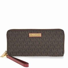 Michael Kors Jet Set Travel Logo Continental Wristlet- Brown and Purple #Wristlets