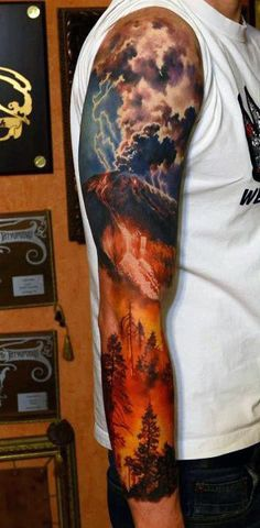 Manly Mens Clouds Sleeve Tattoo