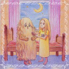 Eine #Illustration für #Kinder von Christina Busse www.christinabusse.de für die #Kurzgeschichte 'Das Haarknotenmonster' von Silke Winter.