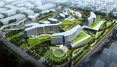 Shanghai International Medical City Gresham, Smith and Partners is part of Hospital design architecture - Hospital Architecture, Healthcare Architecture, Green Architecture, Healthcare Design, Concept Architecture, Futuristic Architecture, Architecture Design, Urban Landscape, Landscape Design