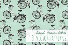 3 Vector Patterns with Bicycles by Helga Wigandt on @creativemarket