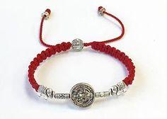 Pulsera Roja Con Medalla de San Benito Hecha A Mano Para La Protección | eBay